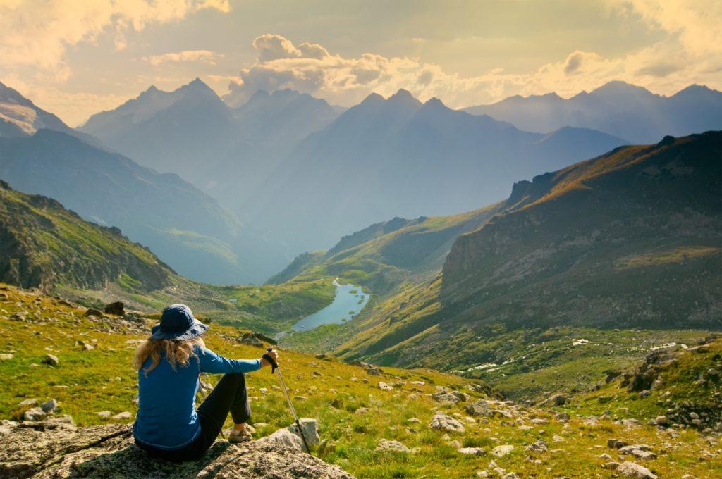woman hiking in the mountain
